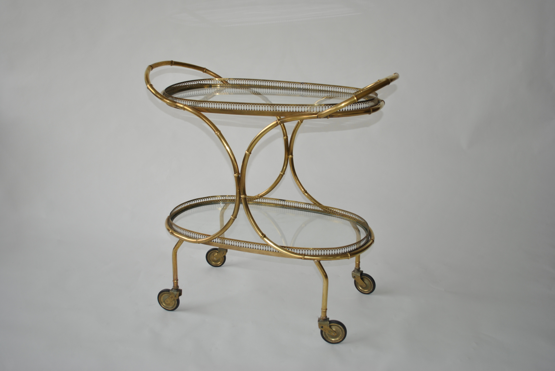 Brass Bamboo Framed Trolley