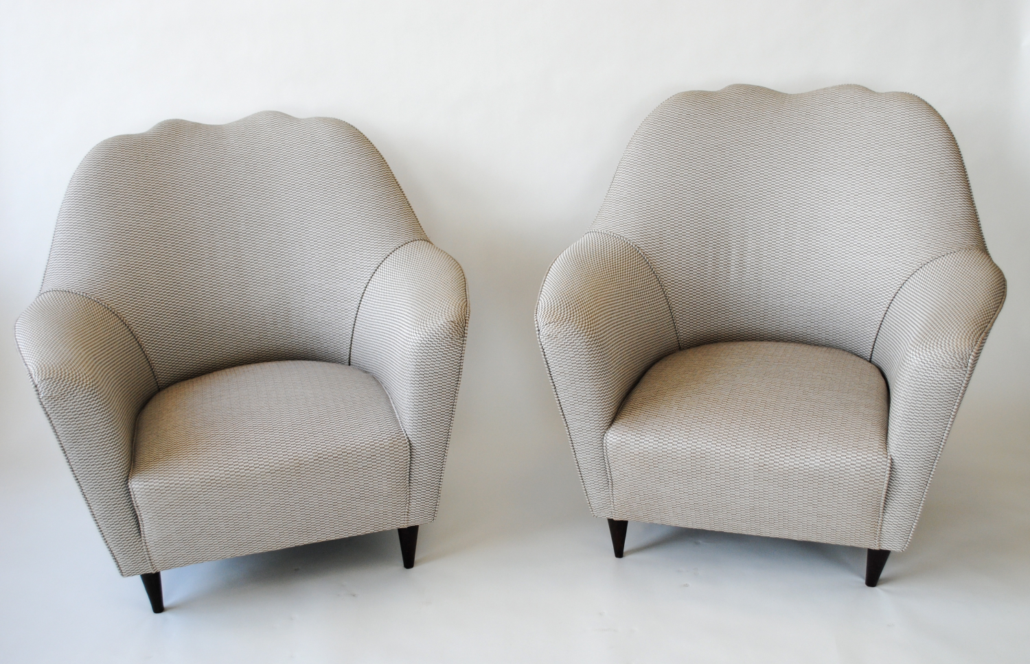 Large Italian sculpted 50`s armchairs