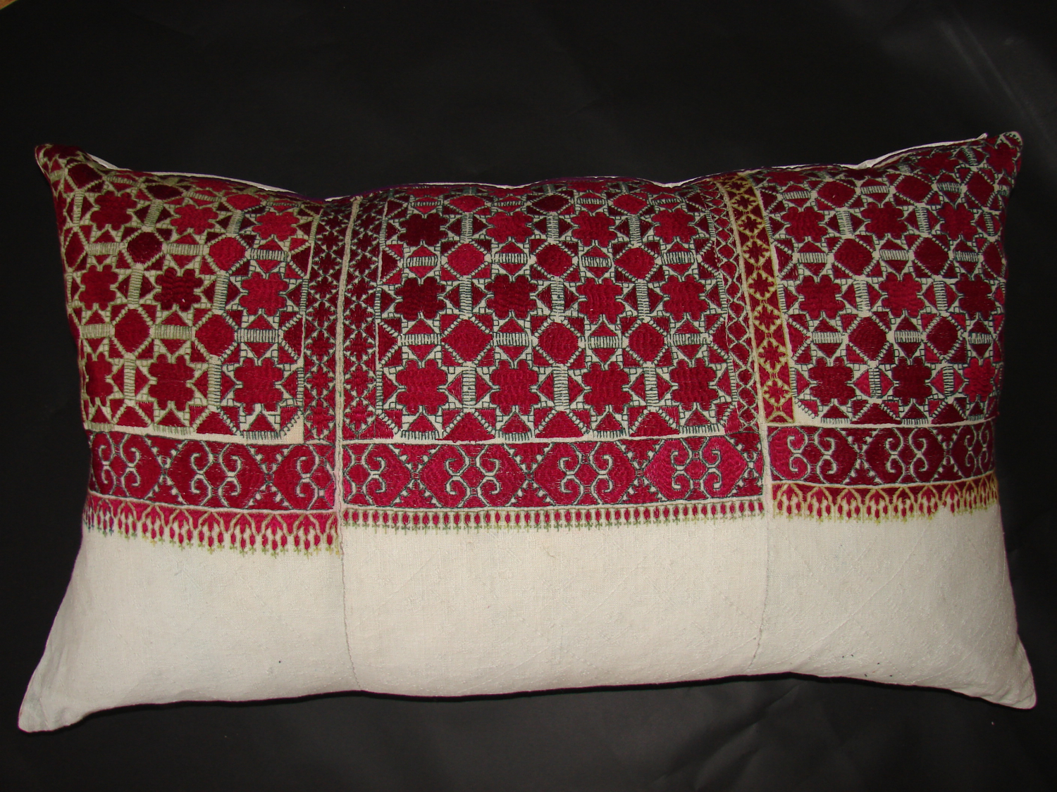 Large pair of embroidered Afghan bed pillows