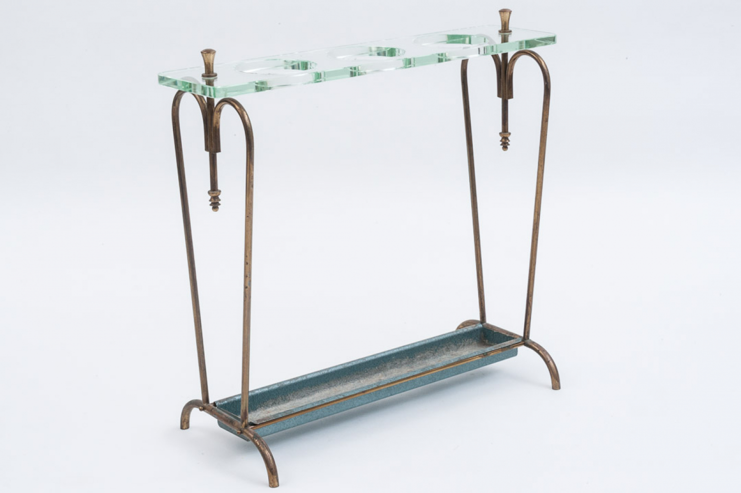 Brass and glass umbrella stand