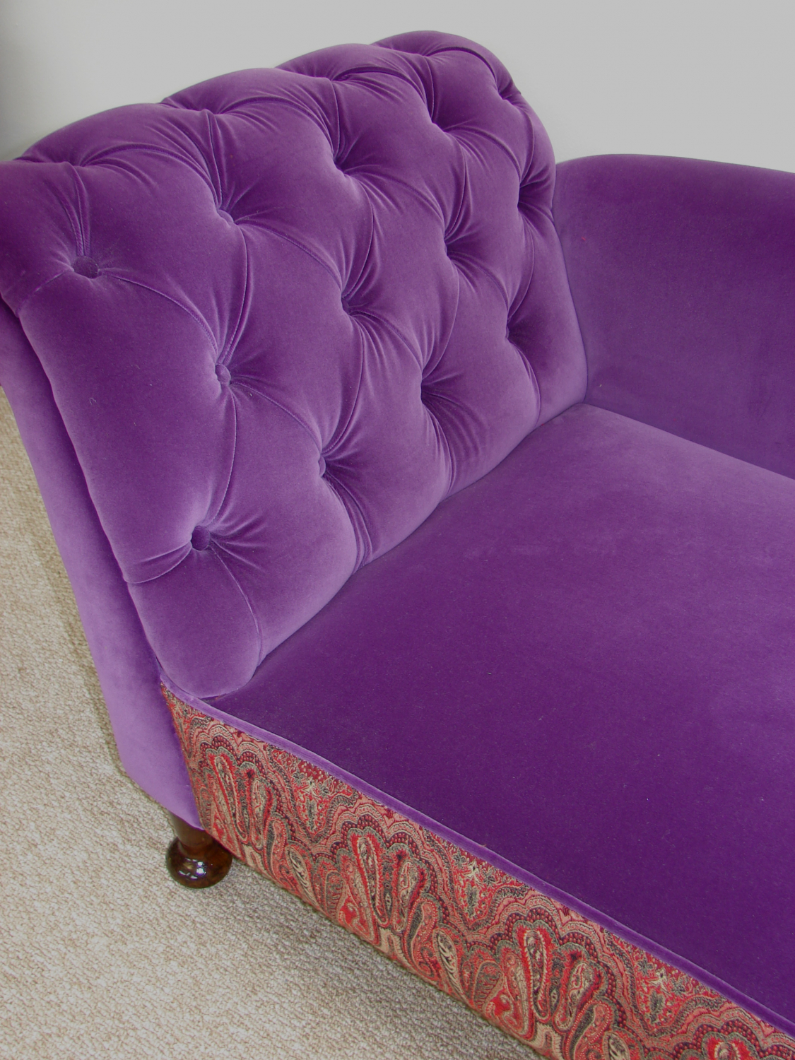 Victorian chaise with Mid Century Persian fabric border