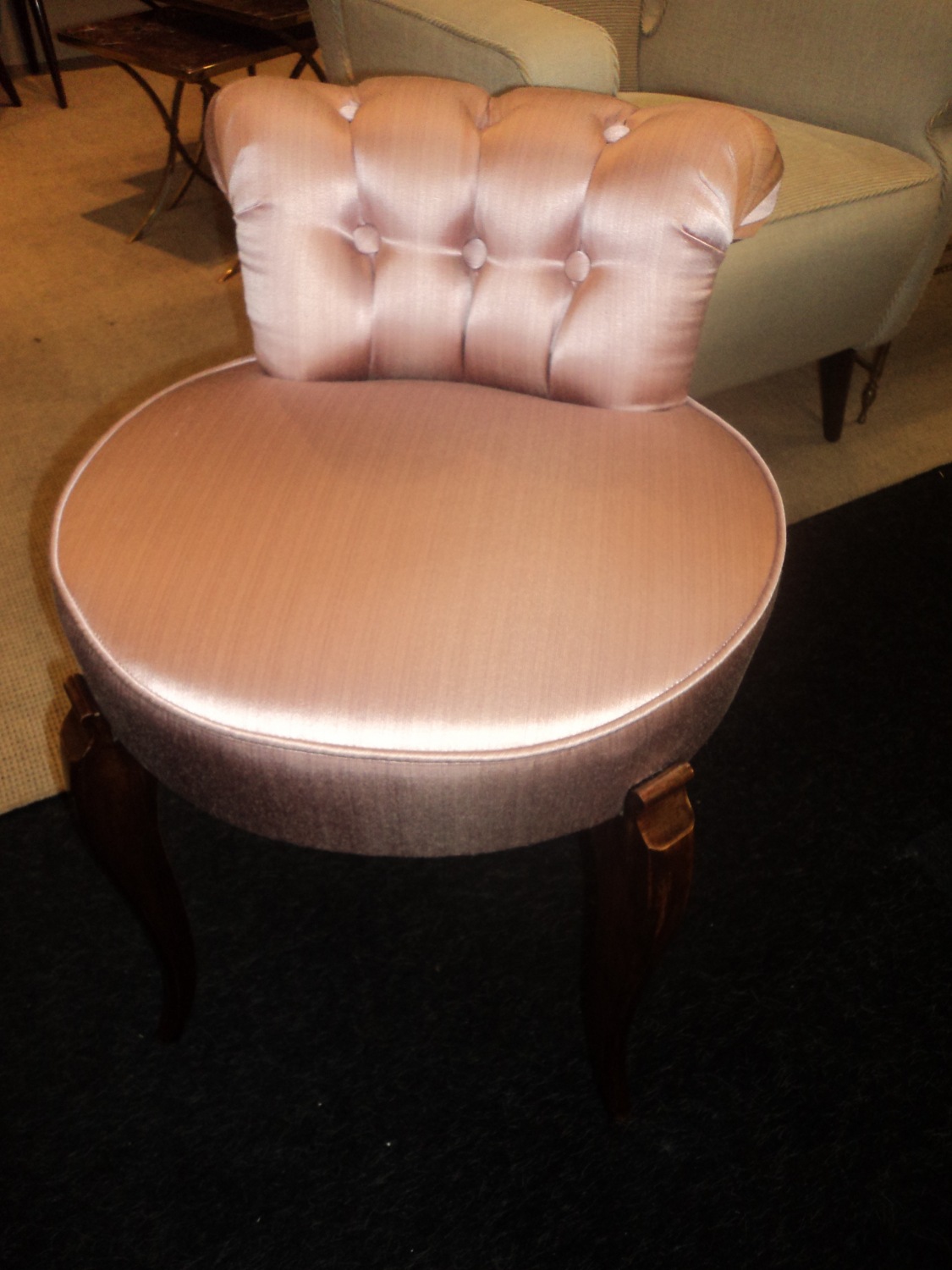Art Deco dressing table chair in pink satin