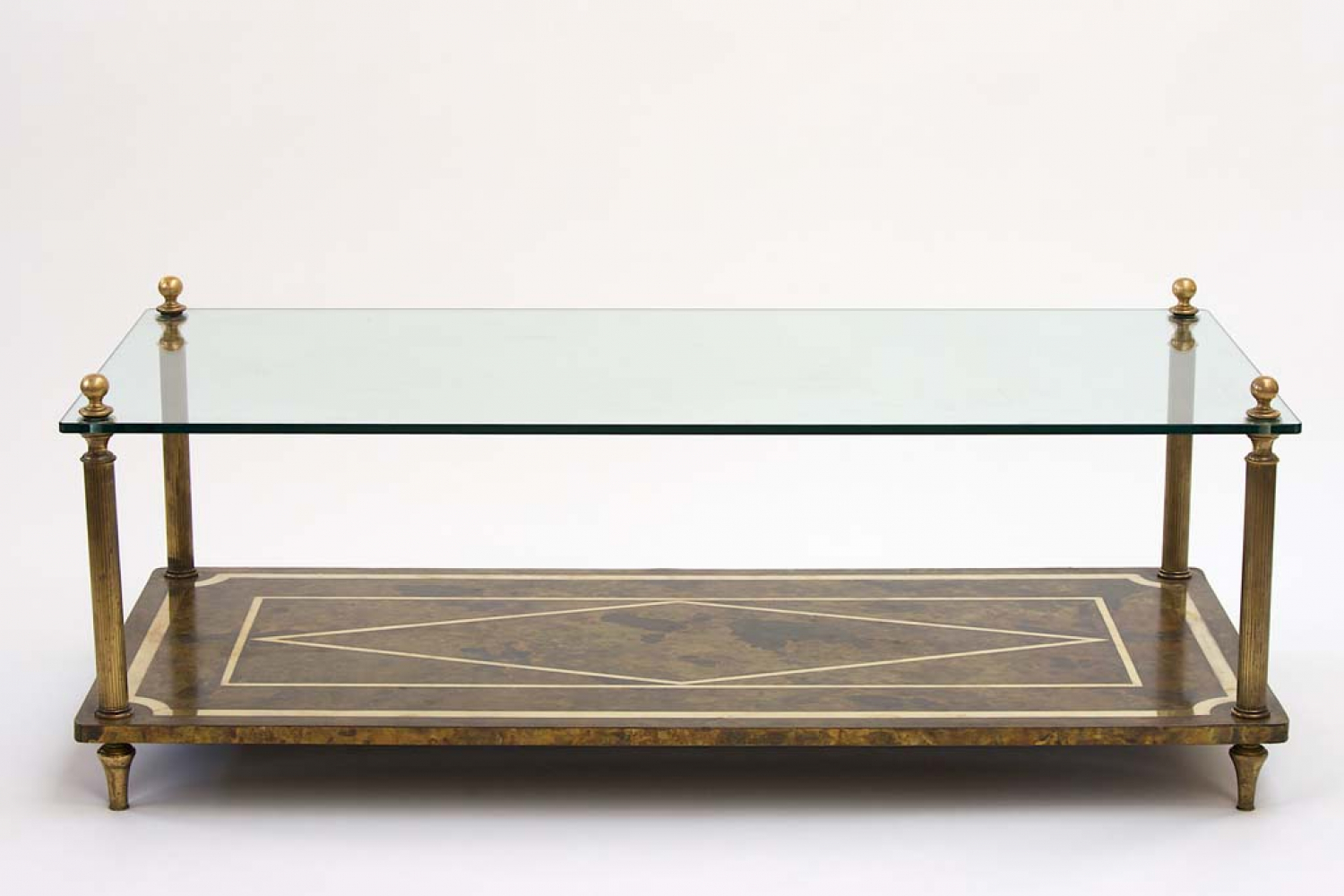 1960`s brass and glass French coffee table