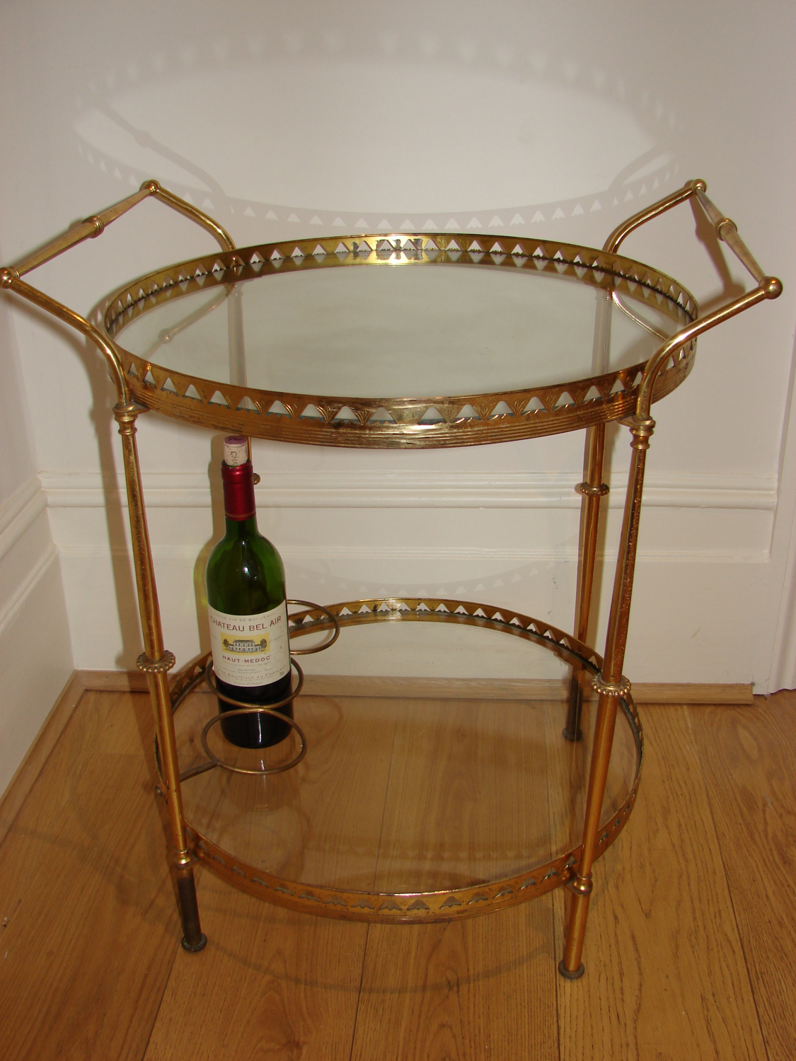 1950`s French brass and glass drinks trolley