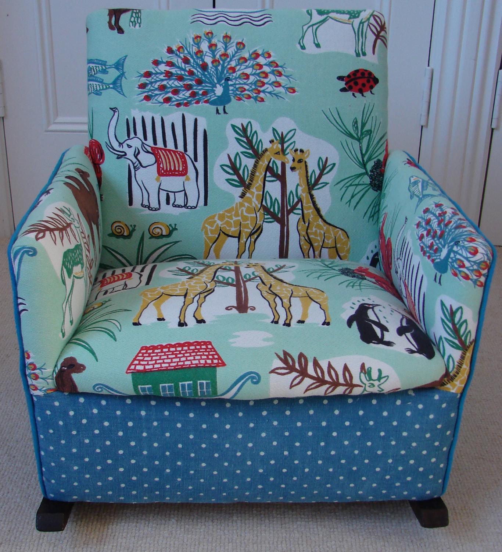 Vintage animal print child`s rocking chair