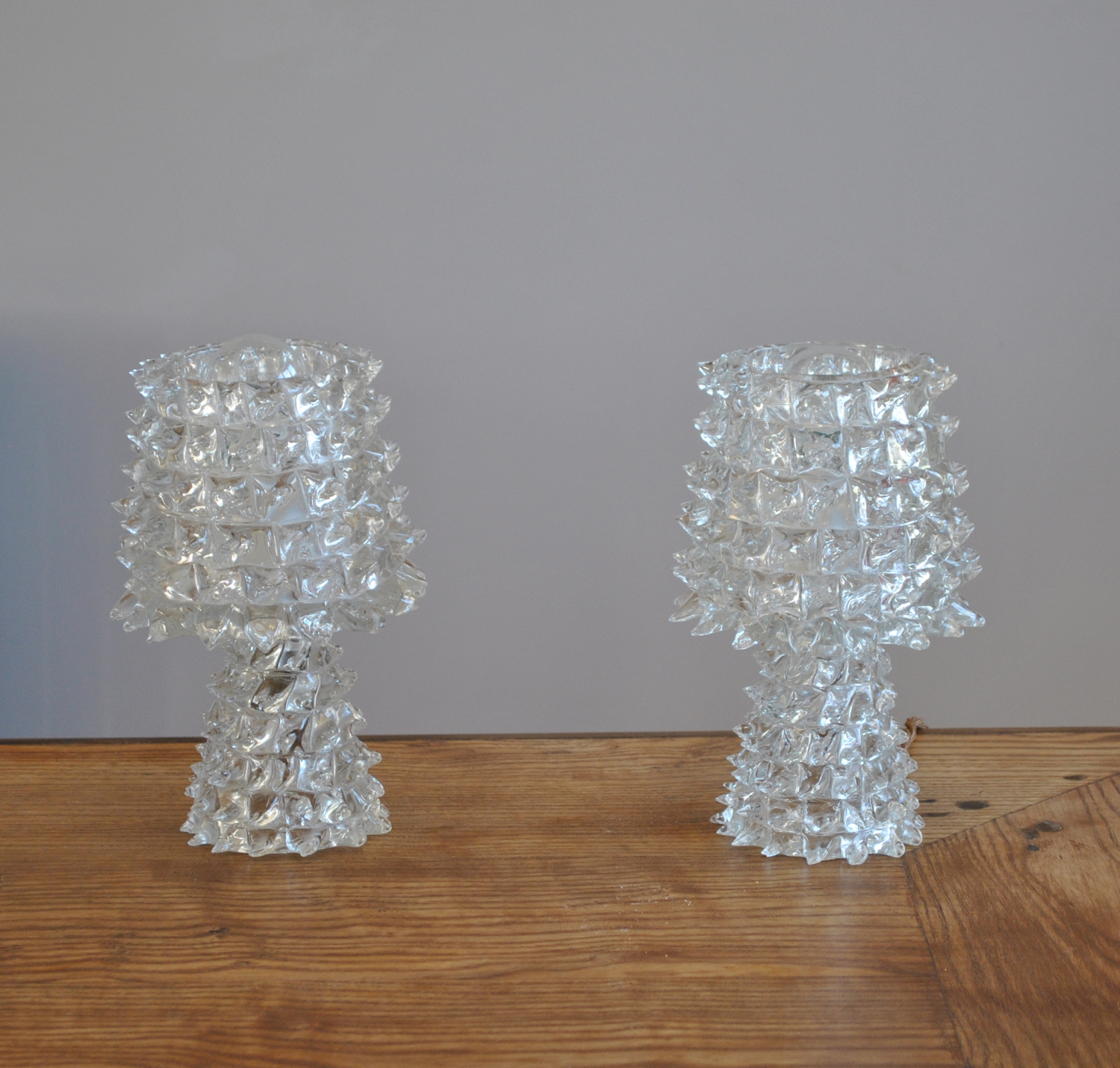 Pair of Barovier Glass Lamps