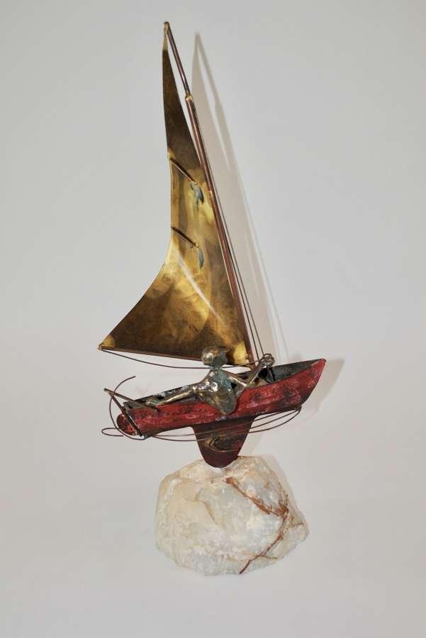 Curtis Jere Sailboat Sculpture