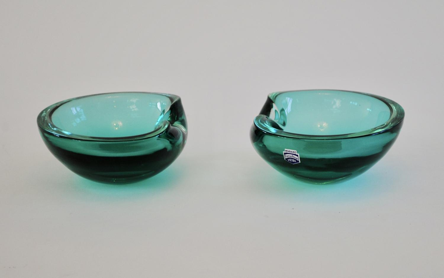 Pair of Petrol Blue / Green Dishes