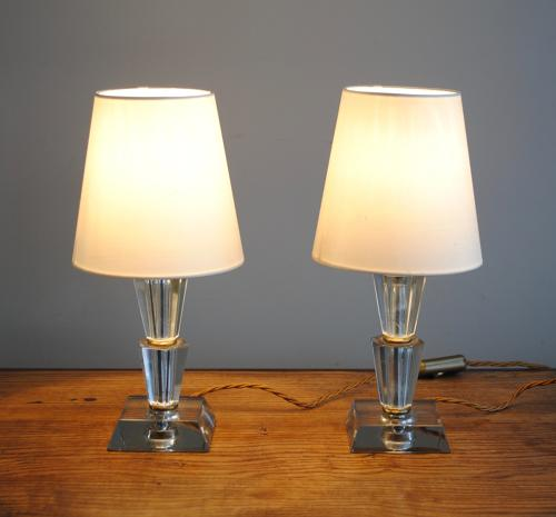 Pair of Glass Bedside Lamps