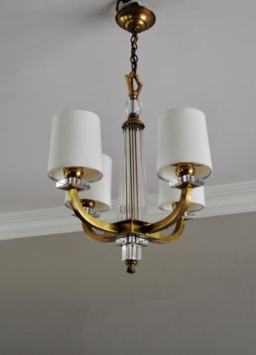 French Art Deco chandelier with 4 arms