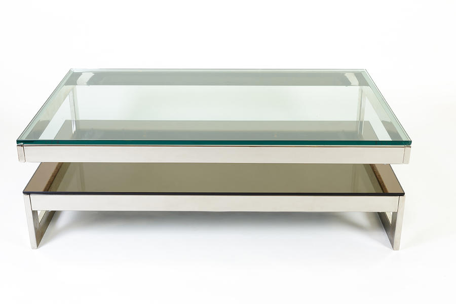 G shaped chrome coffee table