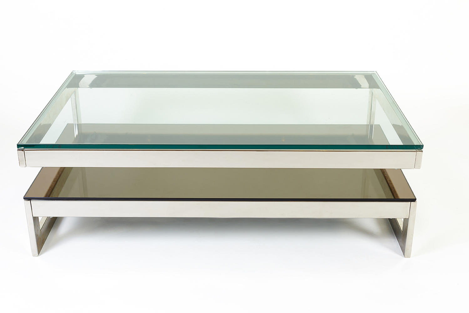 G shaped chrome coffee table