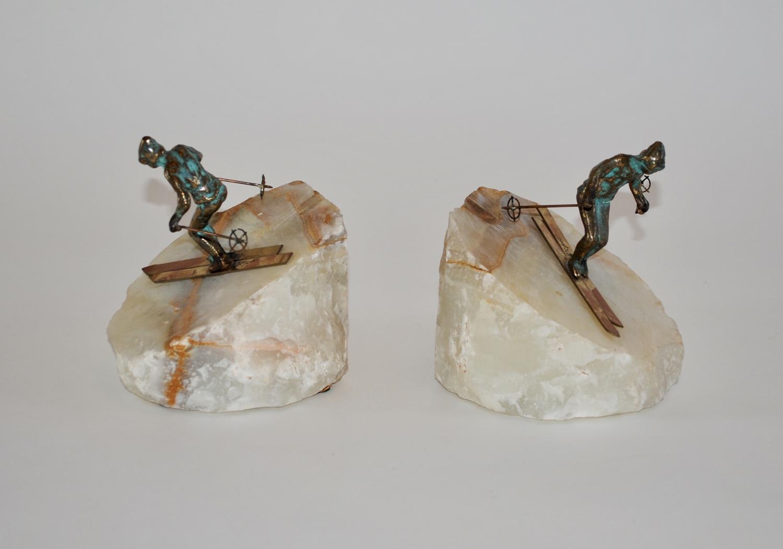 Bronze skier bookends