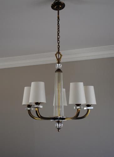 French Art Deco chandelier with 5 arms