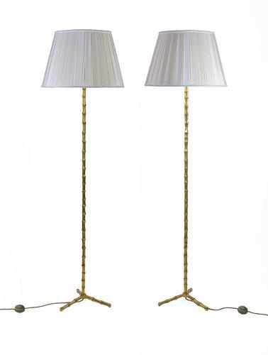 Pair of Bamboo Floor Lamps