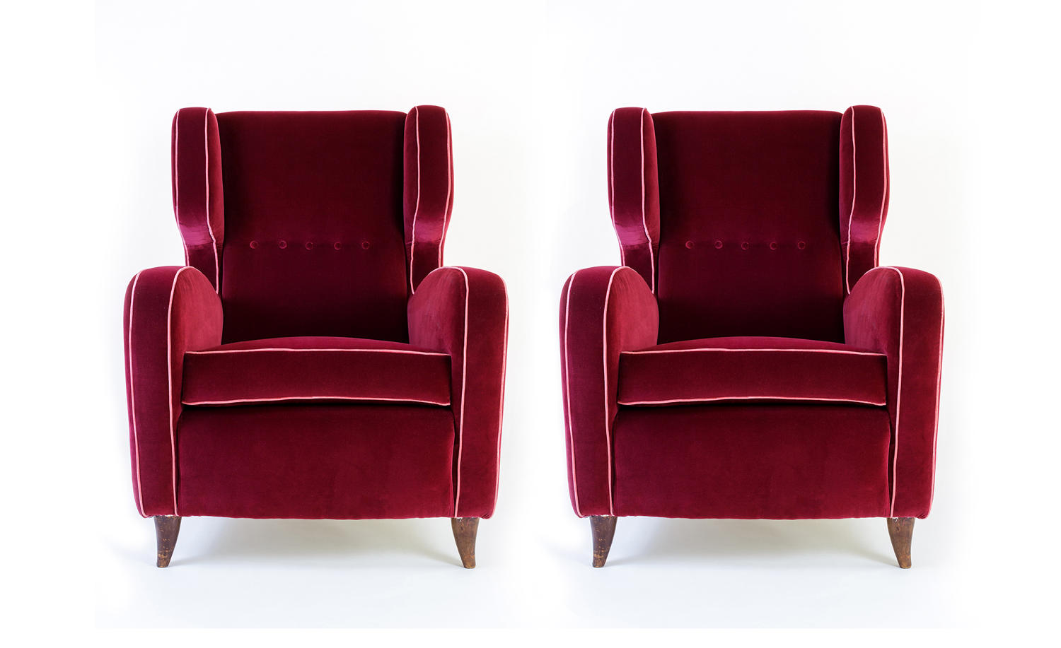 Pair of large Italian armchairs