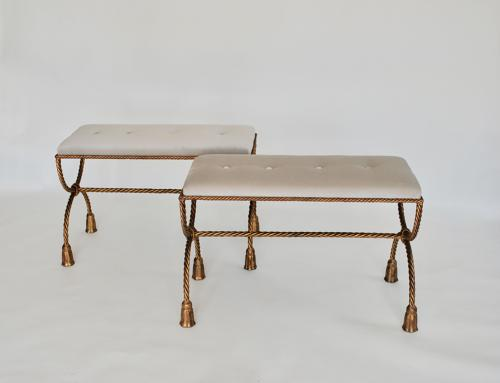 Pair of painted benches / stools