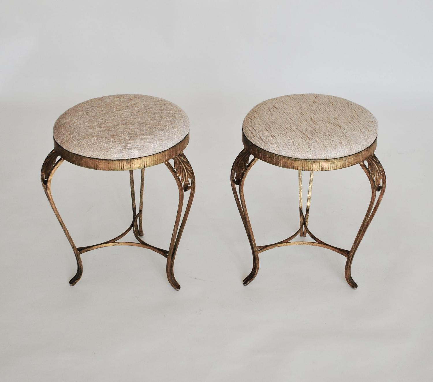 Pair of Gilt Metal Stools