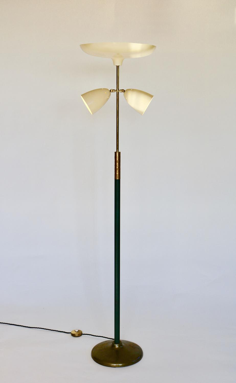 Italian Brass & Leather Floor Lamp