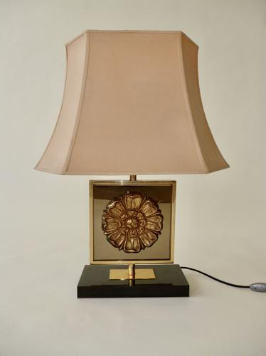 Gilt Metal & Glass Lamp