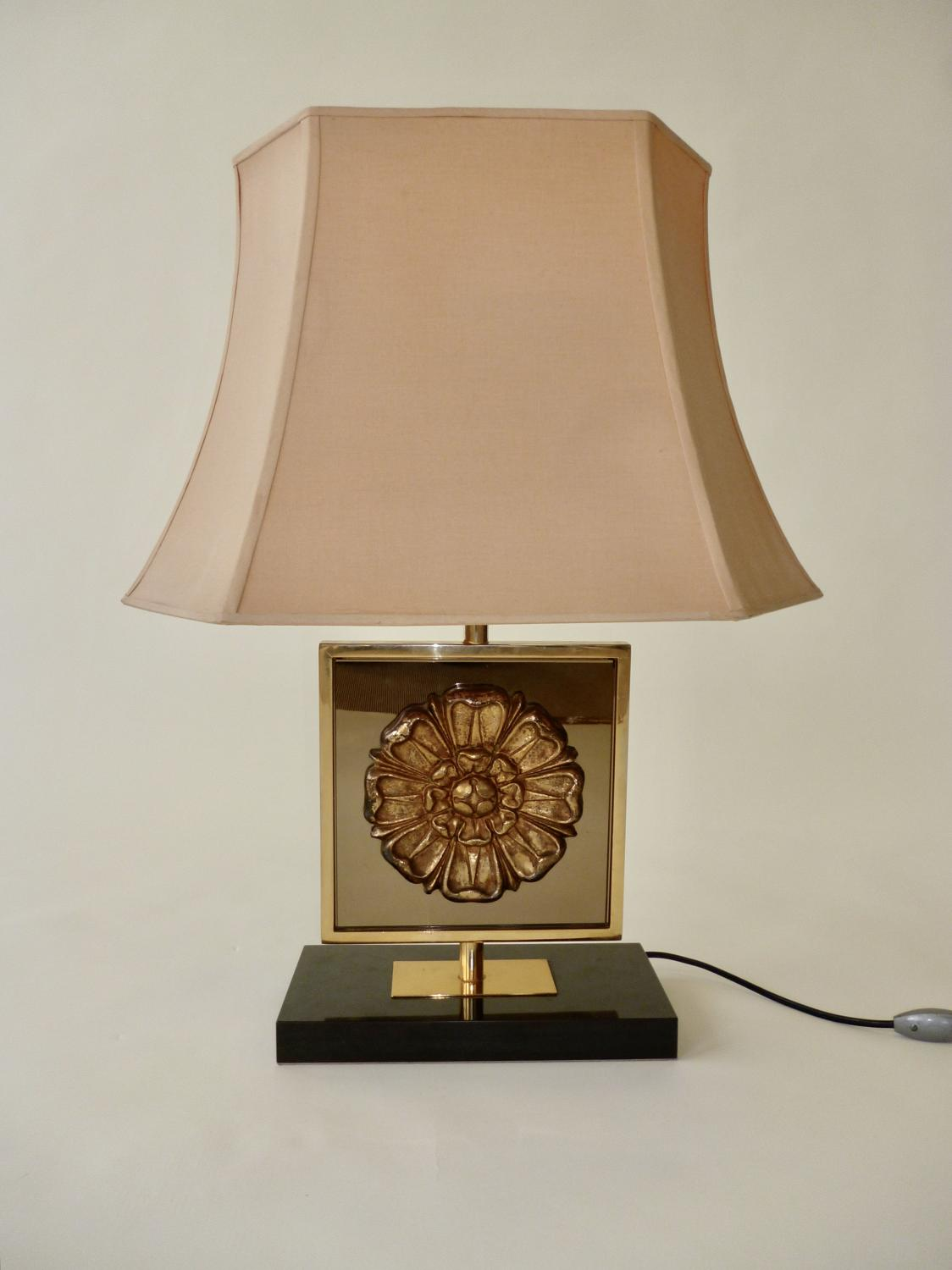 Gilt Metal & Glass Lamp