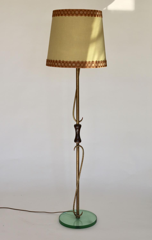 Brass, Glass & Wood Floor Lamp