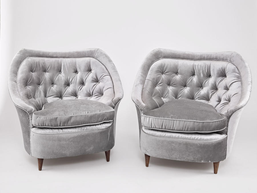 Pair of Buttoned Italian Armchairs