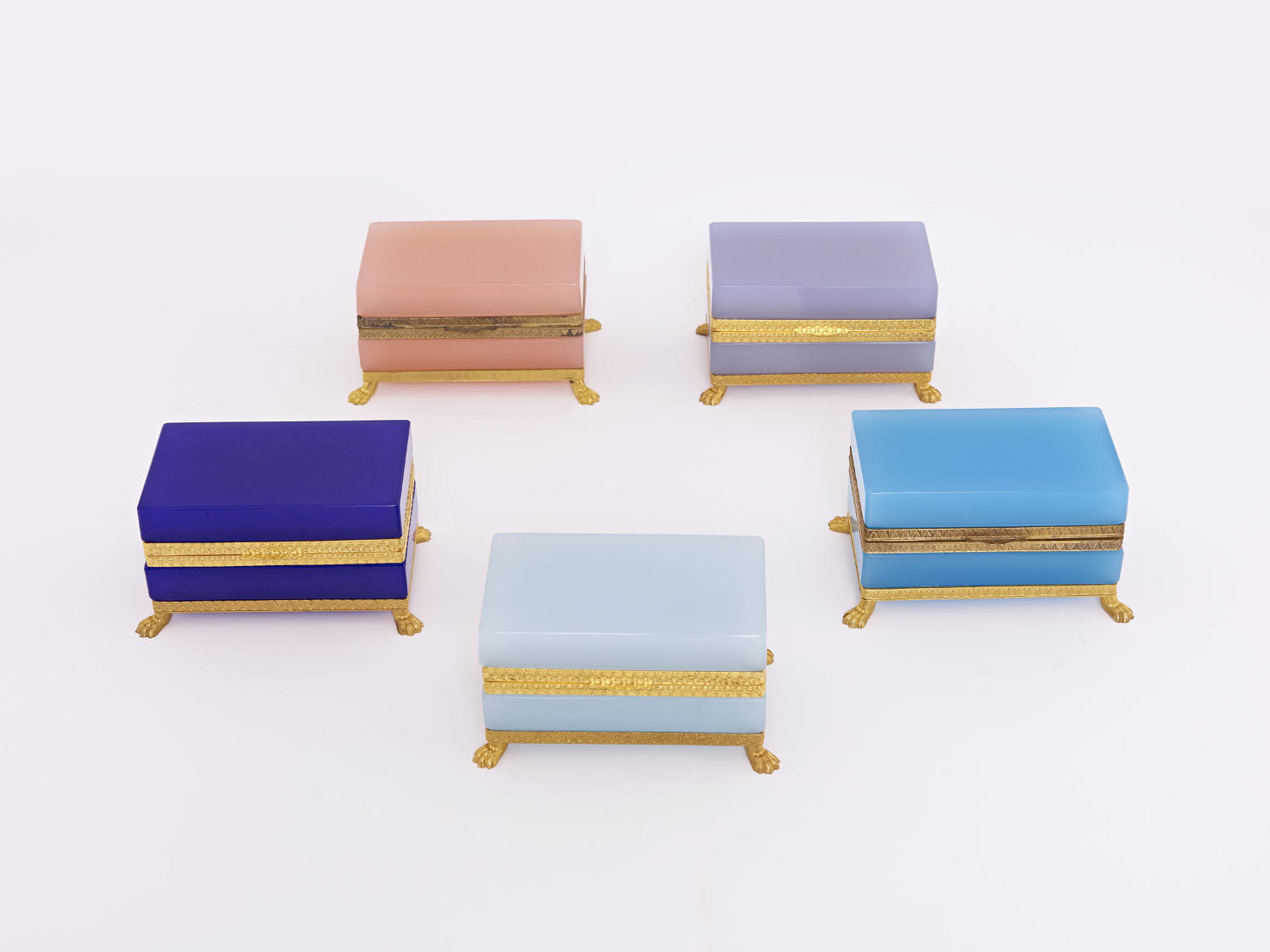 Selection of Murano Opaline Caskets