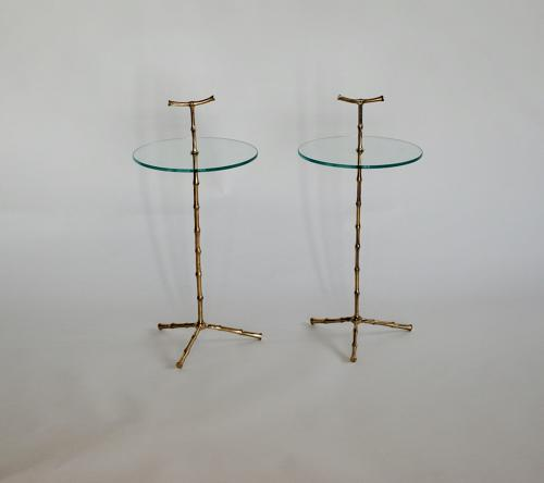 Pair of Faux Bamboo Polished Side Tables