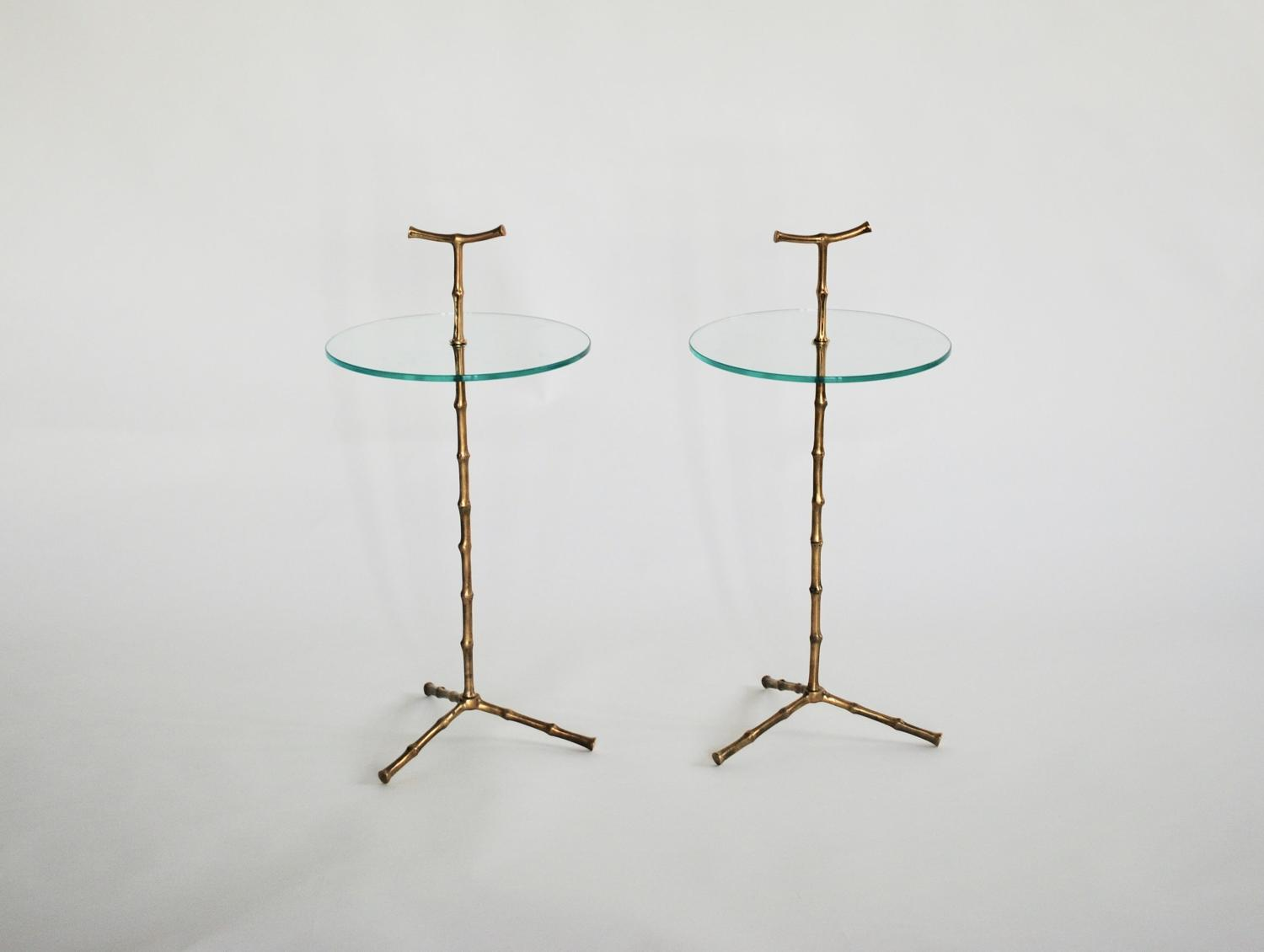 Pair of Faux Bamboo Antiqued Side Tables