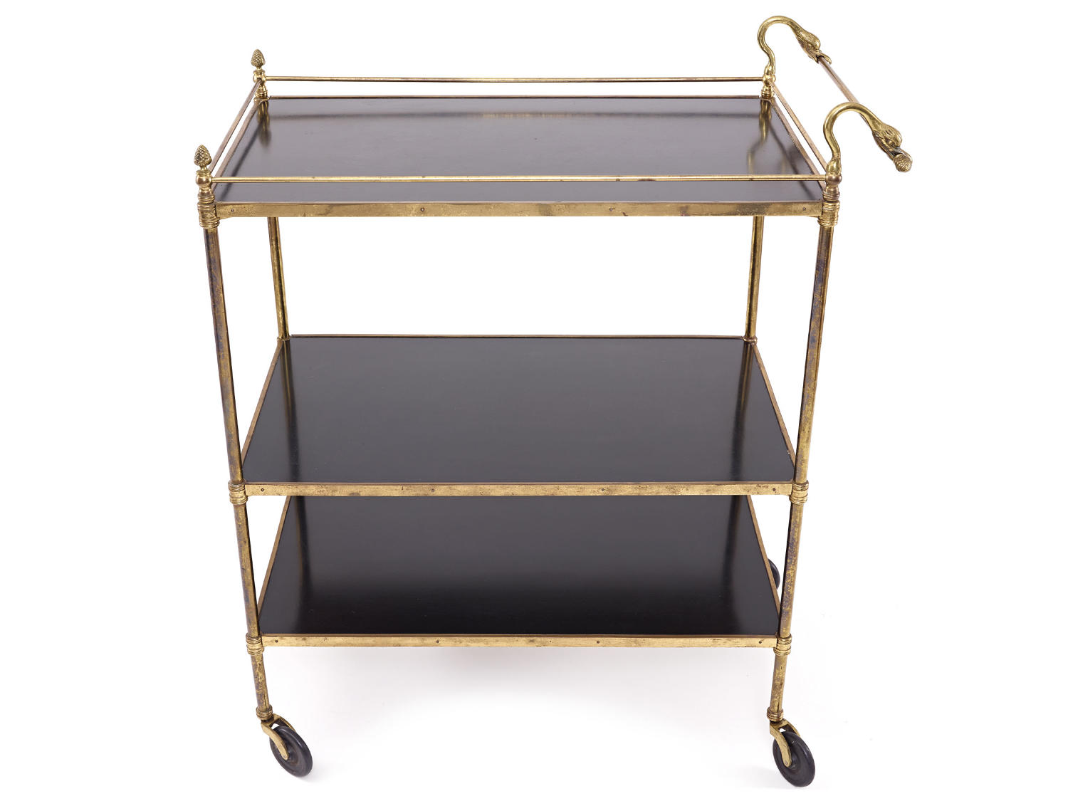 Brass and Black Lacquered Trolley