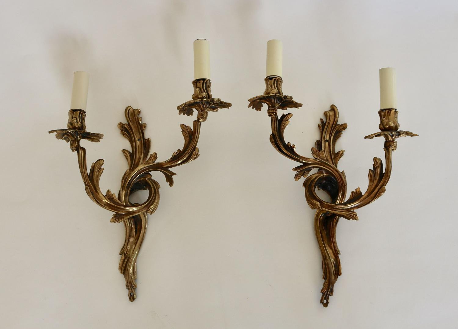 Pair Of Twin Arm Gilded Wall Lights