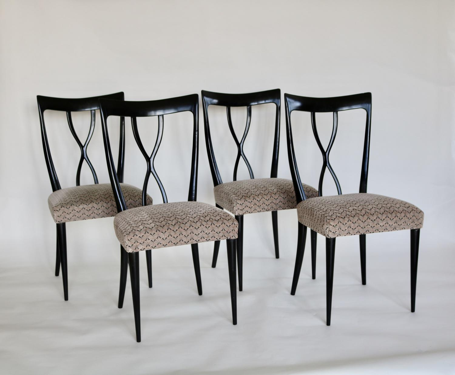 Set of ebonised Italian dining chairs