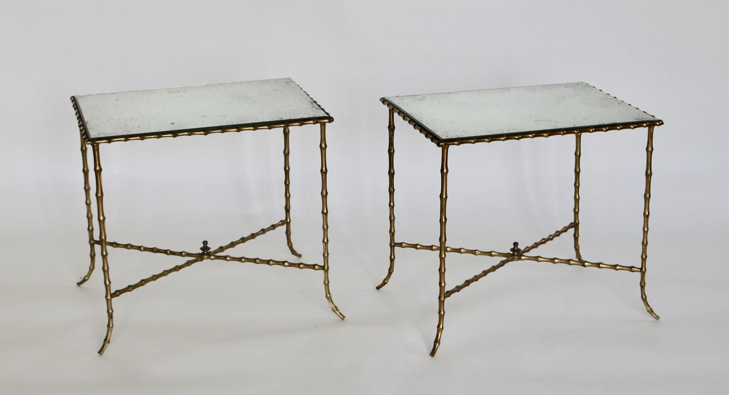 Pair of faux bamboo side tables