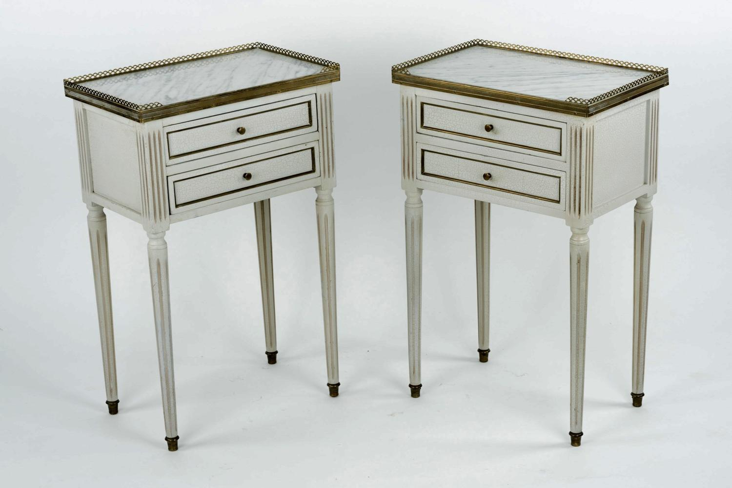 Pair of bedside tables with marble tops