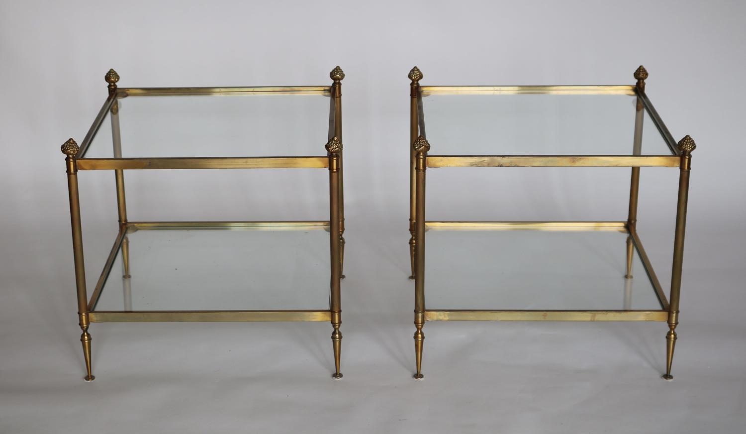 Pair of brass sofa tables