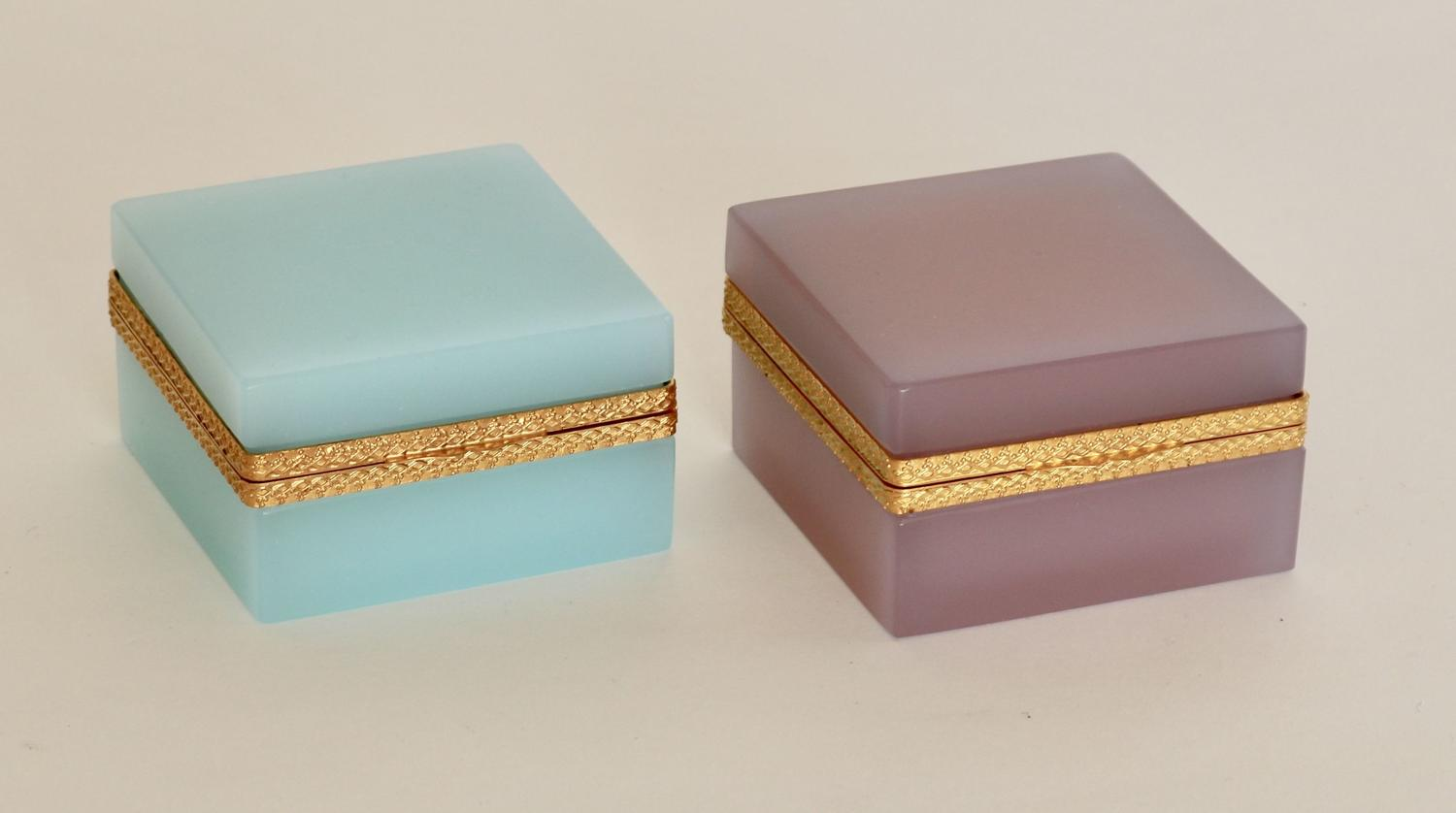 Opaline boxes with gilt bronze mounts