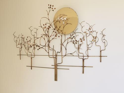 Sun and birds wall sculpture