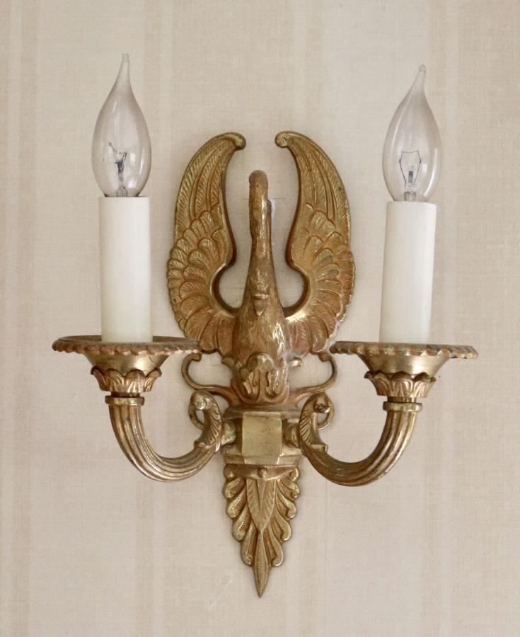 Pair of  bronze Swan wall lights