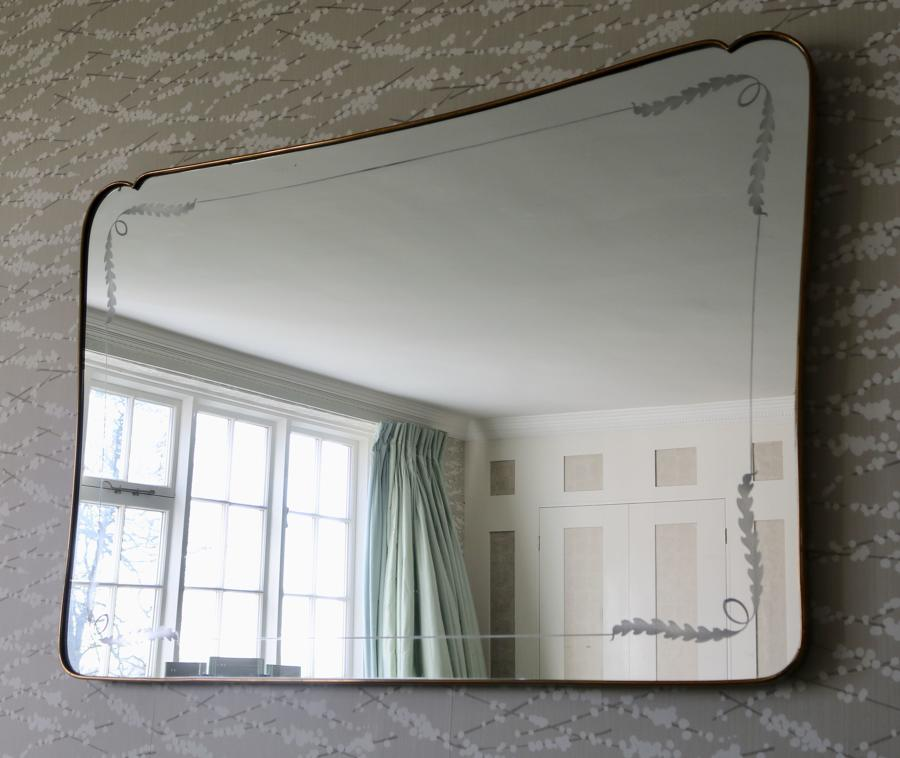 Etched Brass 1950's Italian Mirror