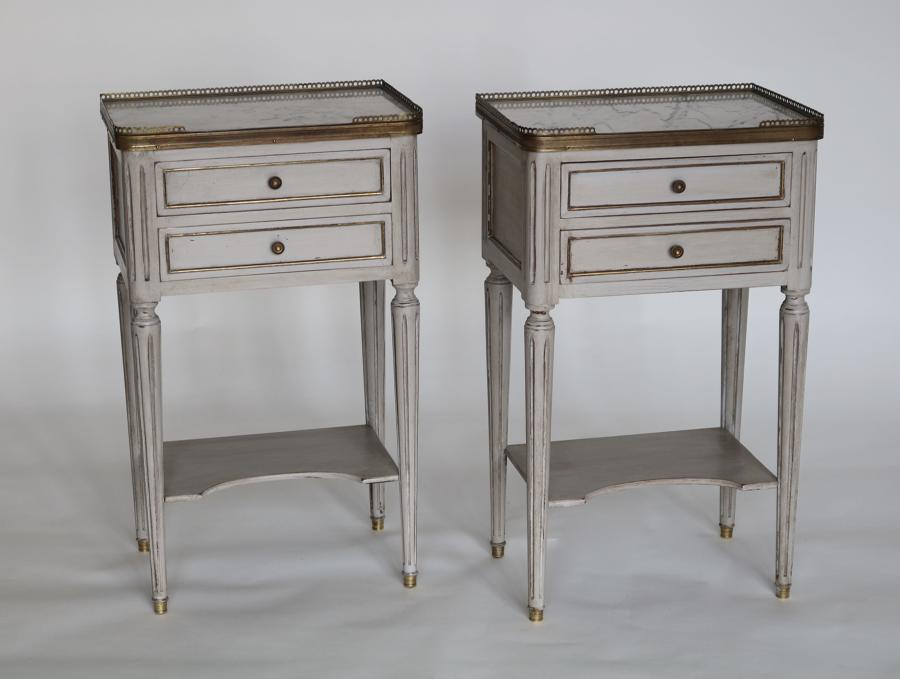 Pair of galleried bedside tables