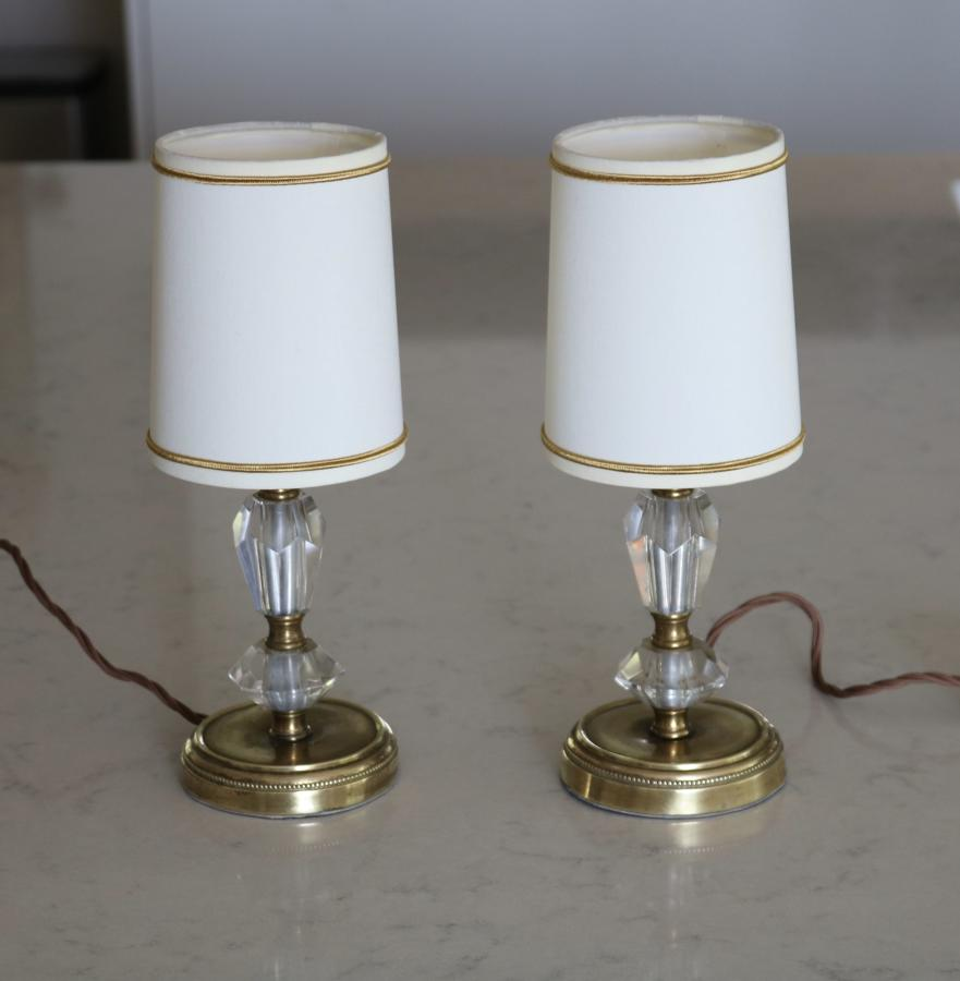 Pair of brass and glass bedside lamps