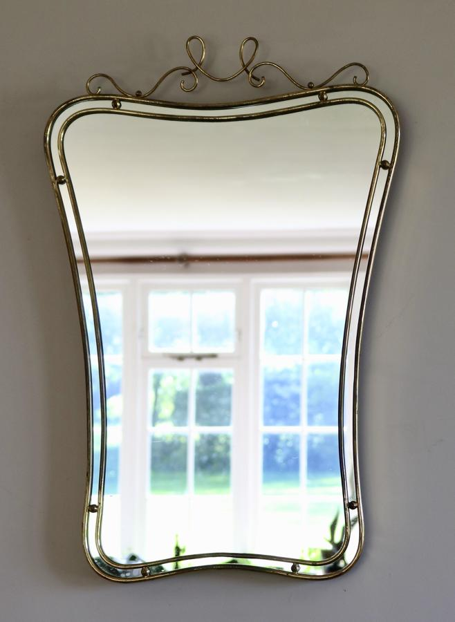 Scroll topped Italian Brass Mirror