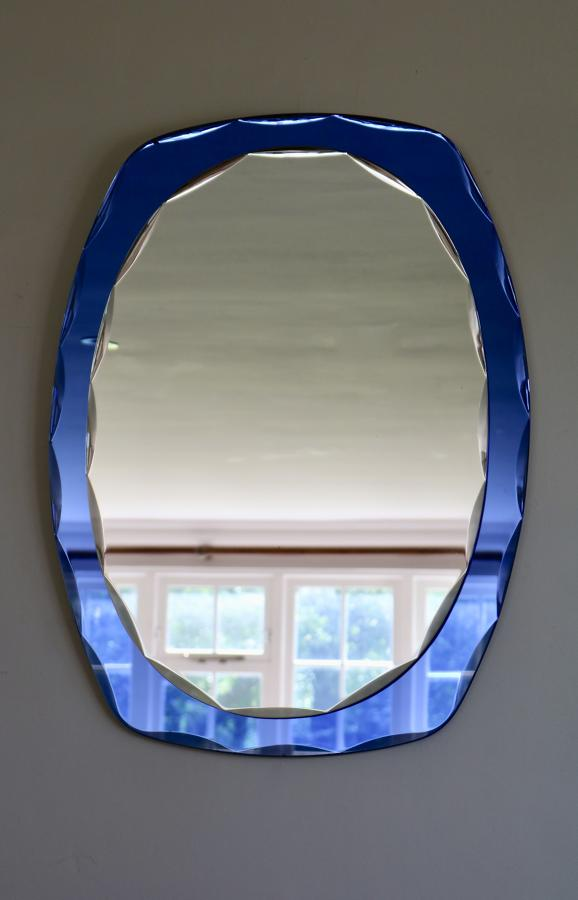 Blue Framed Italian Mirror