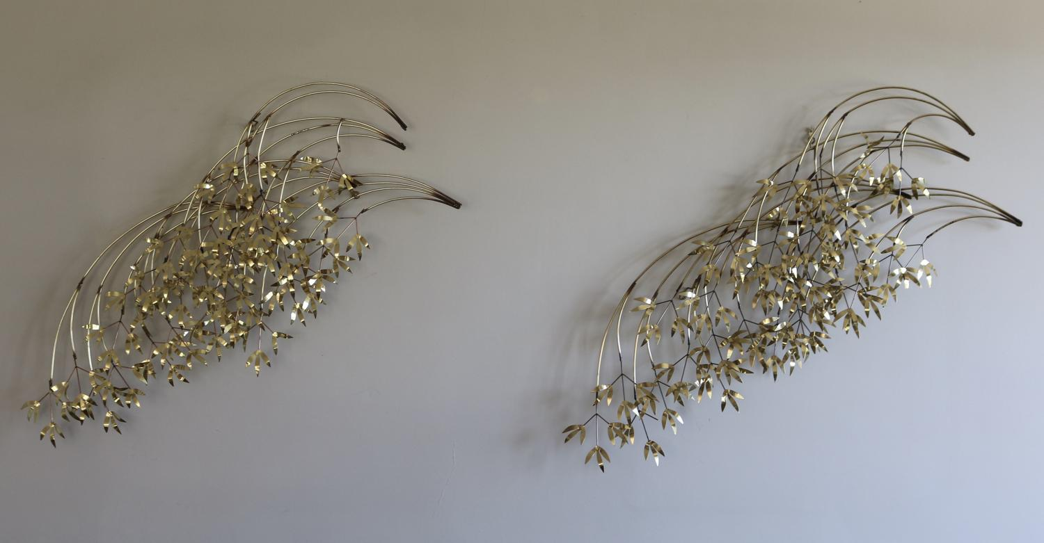 Pair of Curtis Jere Falling Leaves Sculptures