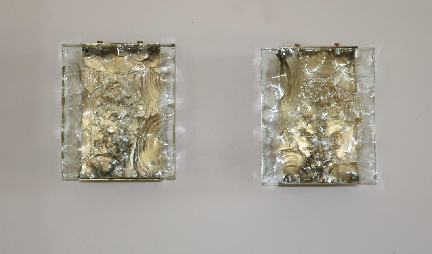 Pair of Glass and Brass Wall Lights