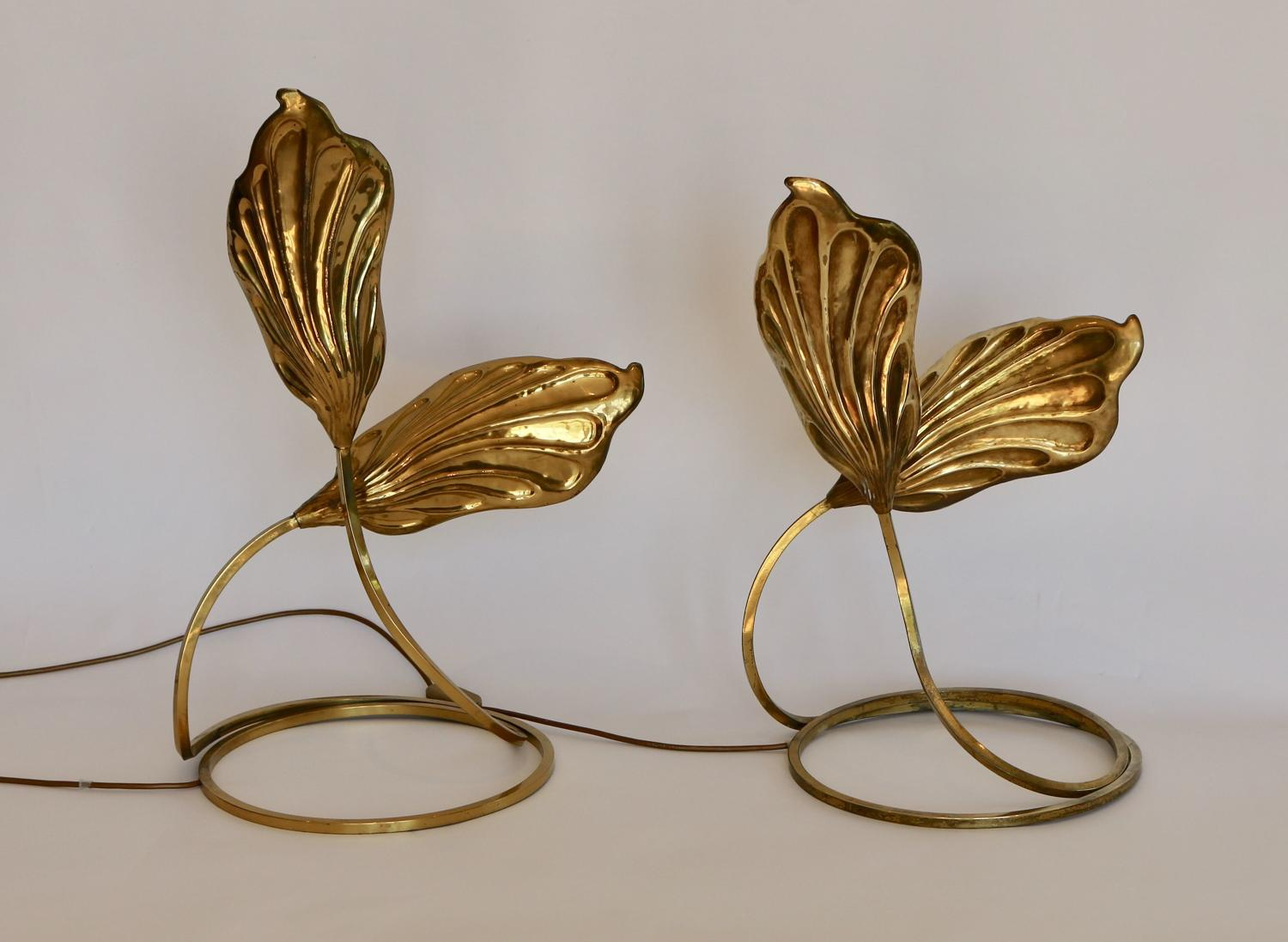 Pair of brass table leaf table lamps