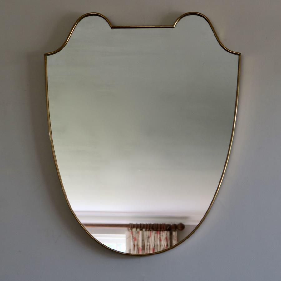 Brass Shield Shaped Mirror