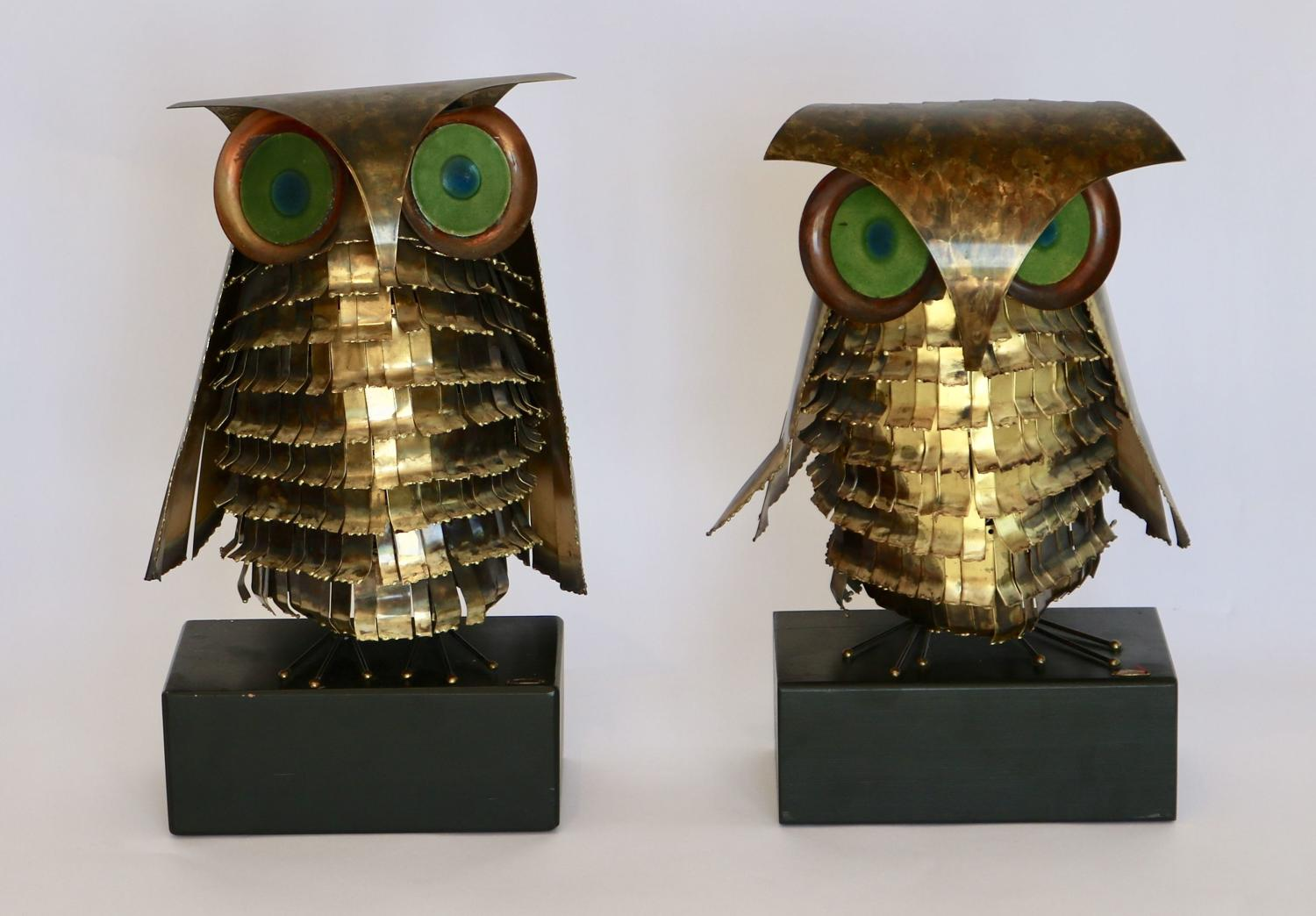 Pair of Curtis Jere Owl Sculptures