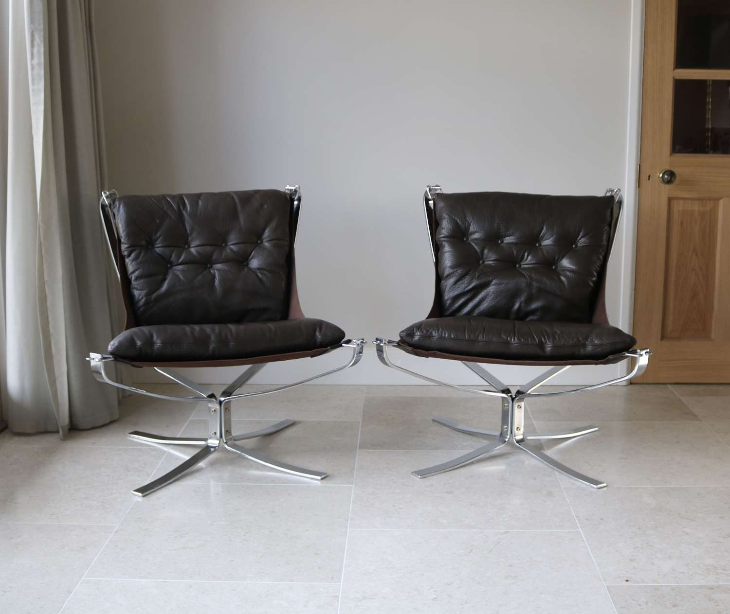 Pair of Chrome and Leather Armchairs
